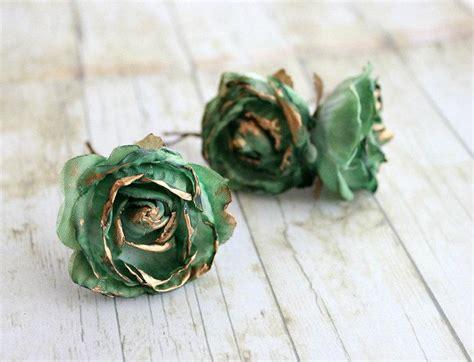 wedding hair accessories green emerald and gold flower hair pins weddings