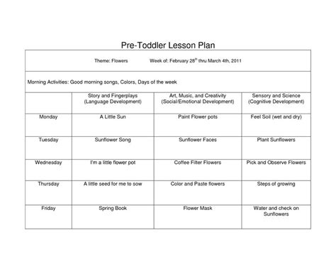 printable infant toddler lesson plans creative curriculum blank lesson plan wcc pre toddler