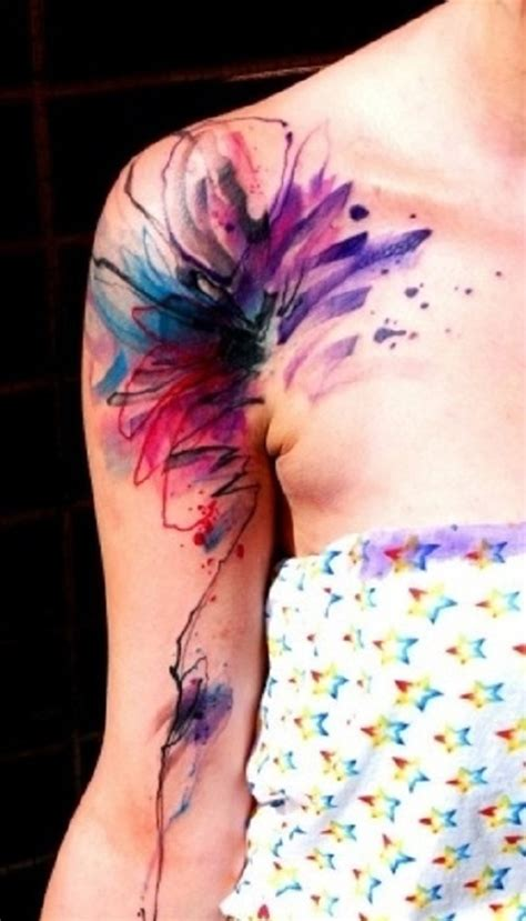 tattoo on shoulder and arm gallery watercolor flower tattoo shoulder