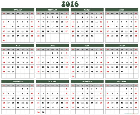2016 Calendar Year 2016 Yearly Birthday Calendar Printable Calendar