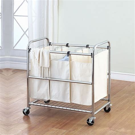 Wood Triple Laundry Sorter Sierra Laundry Triple Wooden Hers For Laundry
