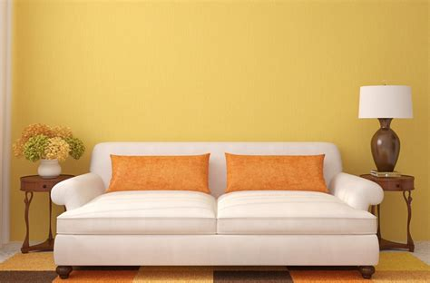 Hd Interior Rendering White Sofa Yellow Wall 3d House