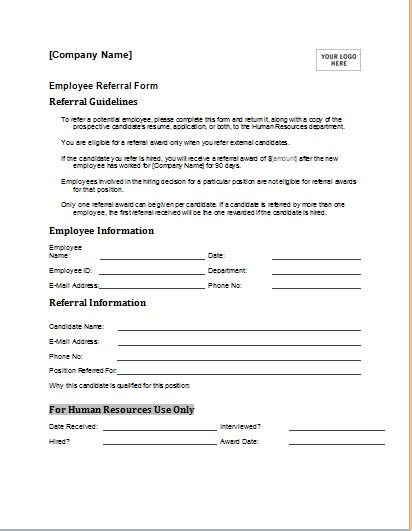 Referral Document Template by Editable Employee Referral Form For Ms Word Document Hub