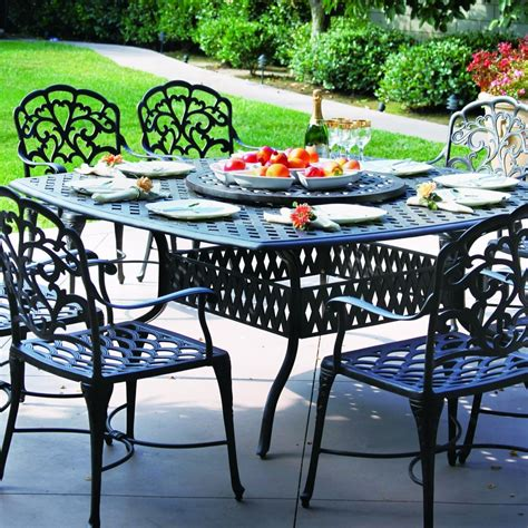 Patio Dining Set With Lazy Susan Darlee 8 Person Cast Aluminum Patio Dining Set
