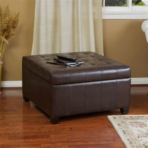 Leather Storage Ottoman Coffee Table Espresso Brown Leather Storage Ottoman Coffee Table W Tufted Top Ebay