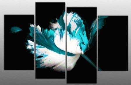 large teal turquoise white black floral canvas artwork