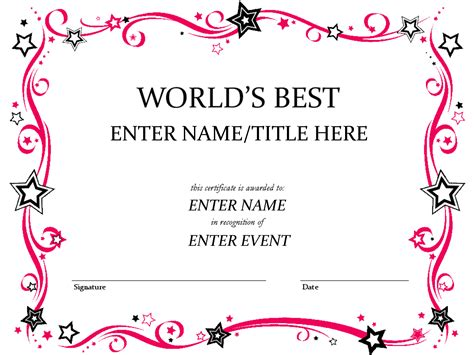 pink girly certificate templates printable