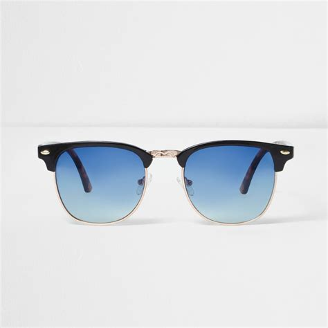 black retro blue lens sunglasses retro sunglasses