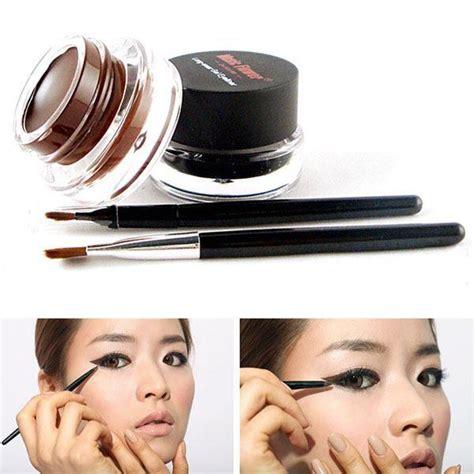 Pixy Eyeliner Gel Black 2pcs brush 2colors brown black eye liner gel cosmetic makeup set 187 newday mk