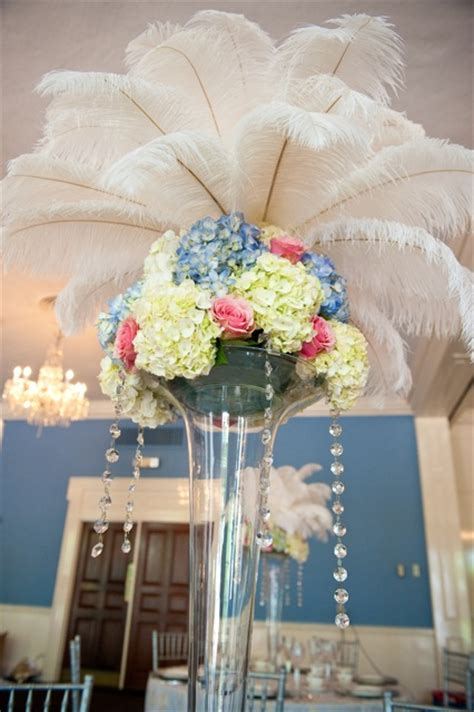 centerpieces with feathers and flowers inspiration week modern antoinette united with