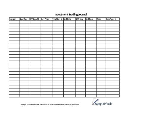 Investment Stock Trading Journal Spreadsheet Investment Template