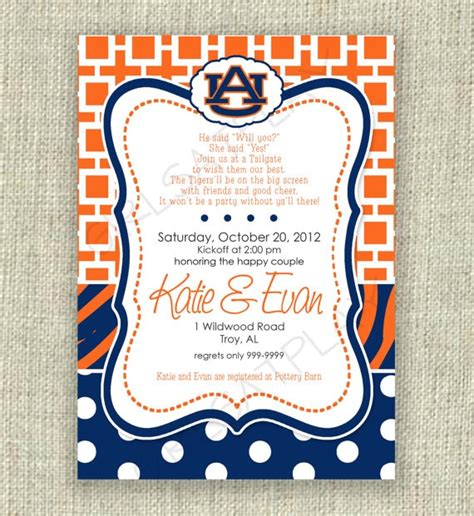 bridal shower football invitation auburn tailgate by
