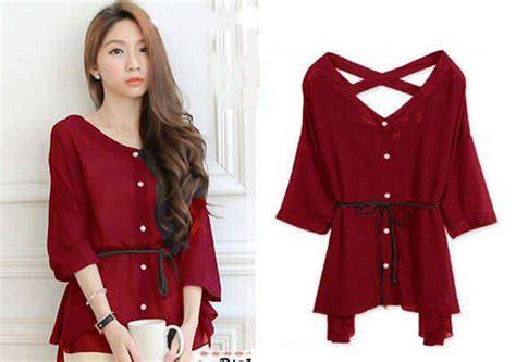 jual corina blouse baju atasan lengan pendek kancing belt rayon merah gading fashion