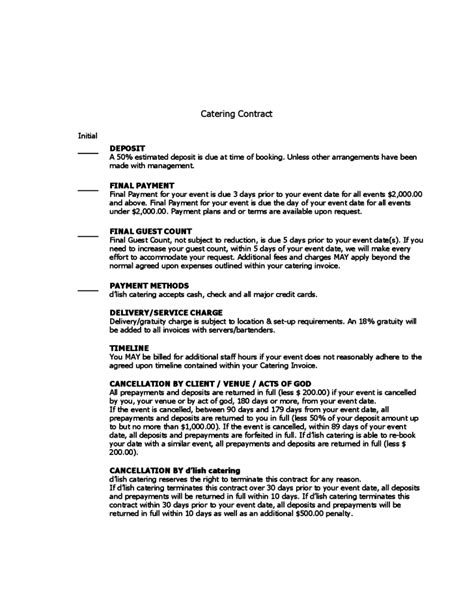 Sle Catering Contract Template by Catering Contract Sle Free