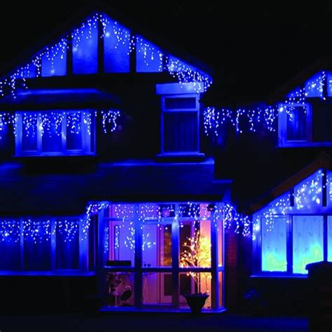 icicle christmas lights with white wire blue light