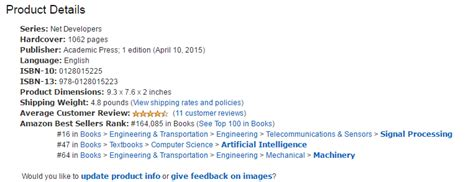 product details anatomy of an amazon product detail page for elsevier books scitech connect