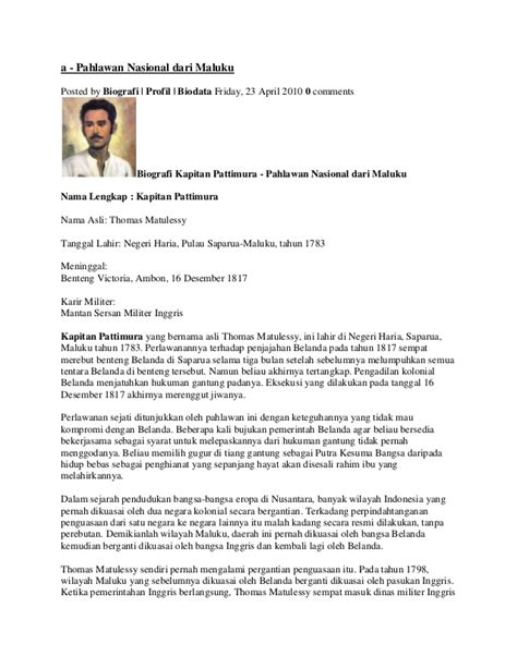Biografi Kapitan Pattimura Bahasa Jawa | riwayat hidup pattimura