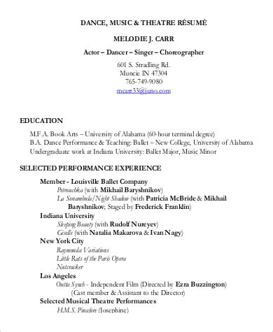 9 Sle Theatre Resumes Sle Templates Musical Theatre Resume Template