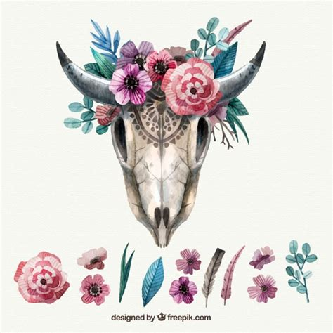 floral decoration vintage animal skull with floral decoration vector free