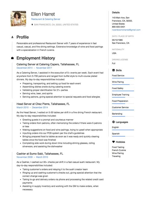 Restaurant Resume by Professional Restaurant Server Resumes Ideal Vistalist Co