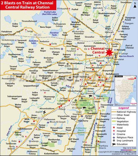 printable chennai road map 2 blasts at chennai railway station 1 dead 9 injured