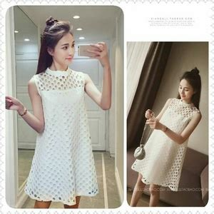 Korea Dress Pendek Brukat Mini Dress Brokat 436 baju dress pendek brukat putih motif cantik ala korea