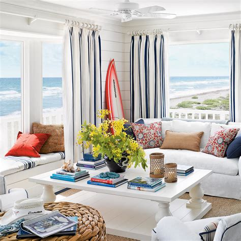 beach cottage curtains hang curtains high 40 beautiful beachy living rooms