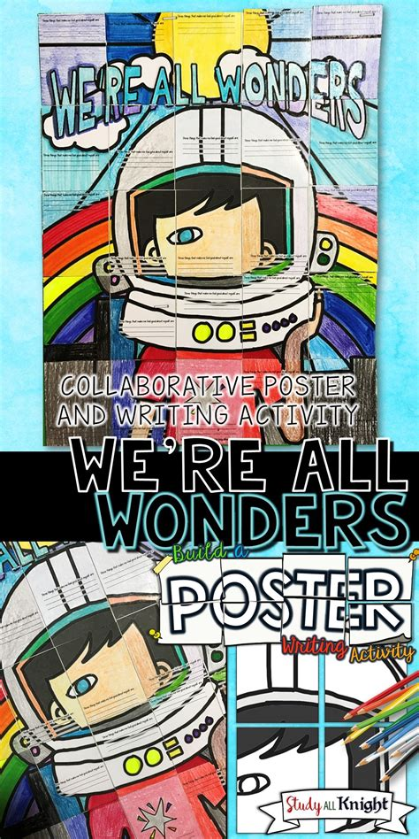 libro were all wonders we re all wonders by r j palacio wonder writing activity poster project espa 241 ol clase de