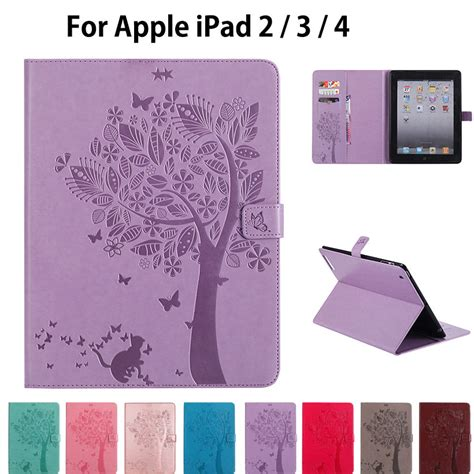 2 3 4 With 4 Stand Position Flipcase Rotary Leather Casing for apple 2 3 4 cases high quality pu leather flip stand cat tree pattern for ipad2