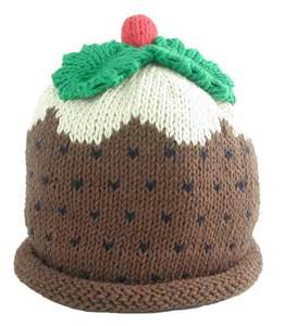 merry berries christmas pudding knitted baby hat