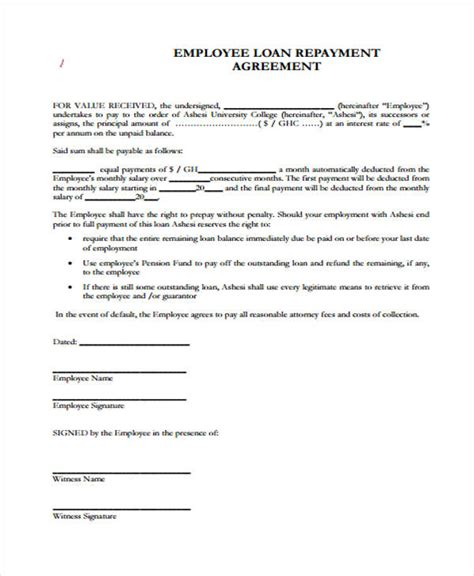 repayment contract template template exles