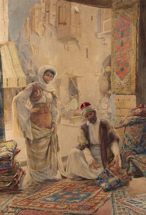rug merchant amedeo simonetti watercolor of a rug merchant