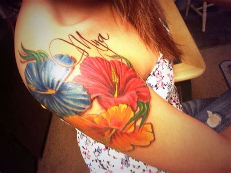 tattoo flower and name my hibiscus flower arm tattoo with my daughters name