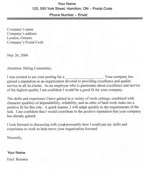 Work Cover Letter Application Letter Sle Canada Immigration Application Cover Letter Sle