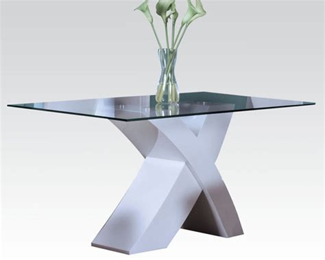 White Glass Dining Tables White Glass Dining Table Pervis By Acme Furniture Ac71105