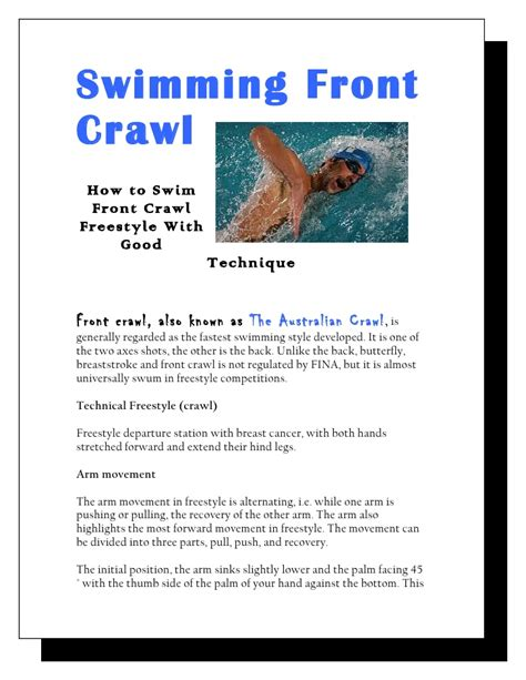how to to swim swimming front crawl how to swim front crawl freestyle with tech