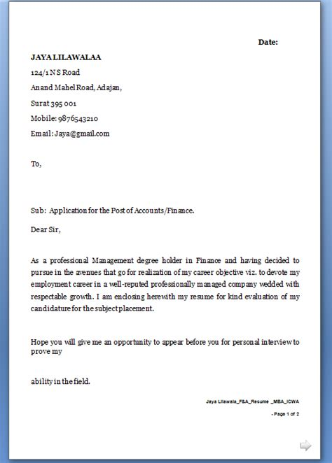 Application Letter Template Word Sle Letter For Application
