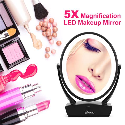 5x lighted makeup mirror side 1x 5x magnification touch screen led lighted