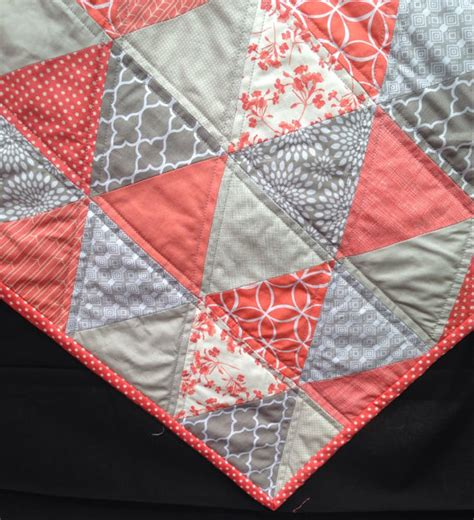 Coral Quilt by Triangle Quilt In Coral And Grey Modern Trending With