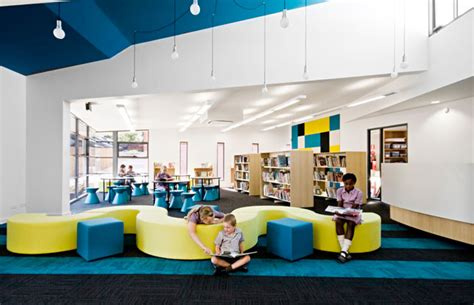 couch elementary school colorful elementary library with unique wave couch