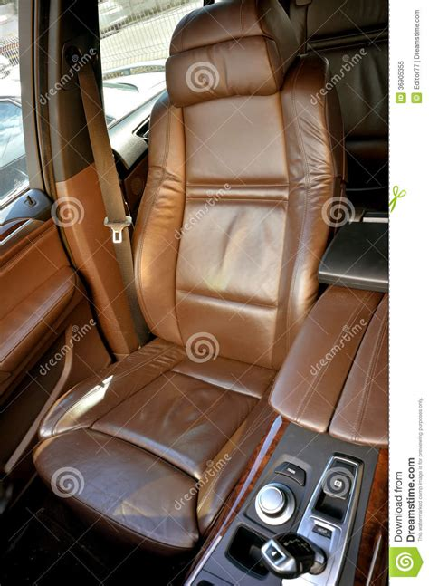 Brown Leather Interior Car by Front Seat Inside Luxury Car Royalty Free Stock Photo