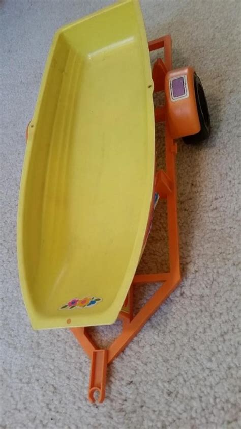 barbie and boat barbie yellow fishing boat tradesy
