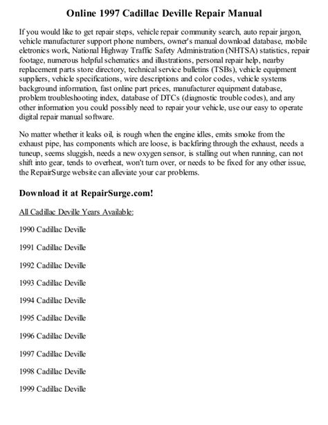 auto manual repair 1992 cadillac deville user handbook 1997 cadillac deville repair manual online
