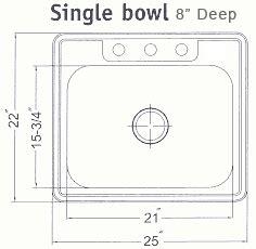 25x22 drop in sink houzer stainless steel drop in kitchen sinks