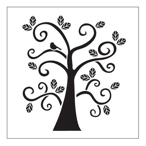 Folkart Curly Tree Small Painting Stencils 30610 The Home Depot Stencil Templates For Painting