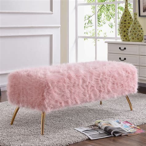 tiffany bench meridian furniture 108fur white tiffany bench in white fur on gold stainless legs