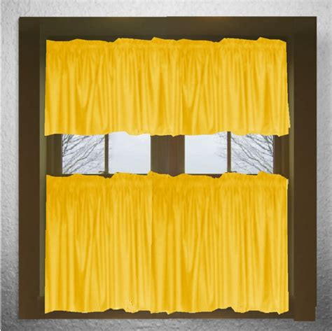 Golden Yellow Curtains Solid Golden Yellow Cotton Kitchen Tier Cafe Curtains