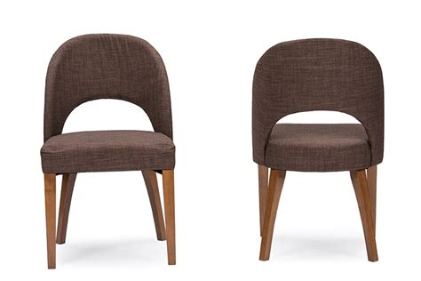 Brown Fabric Dining Chairs Baxton Studio Lucas Mid Century Style Brown Fabric Dining Chair Interior Express