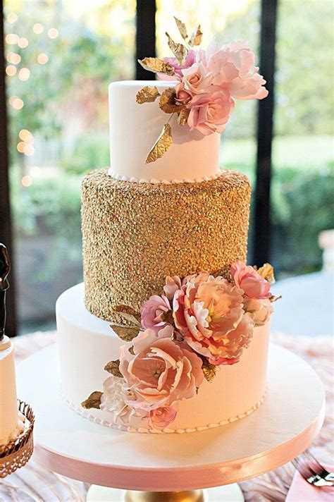 Hochzeitstorte Gold by Gorgeous Wedding Cake With Gold Sequins And Pink Sugar
