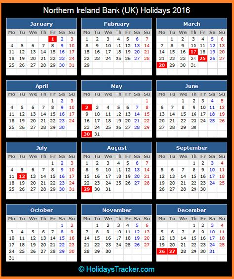 printable calendar 2015 ireland northern ireland bank holidays 2016 holidays tracker
